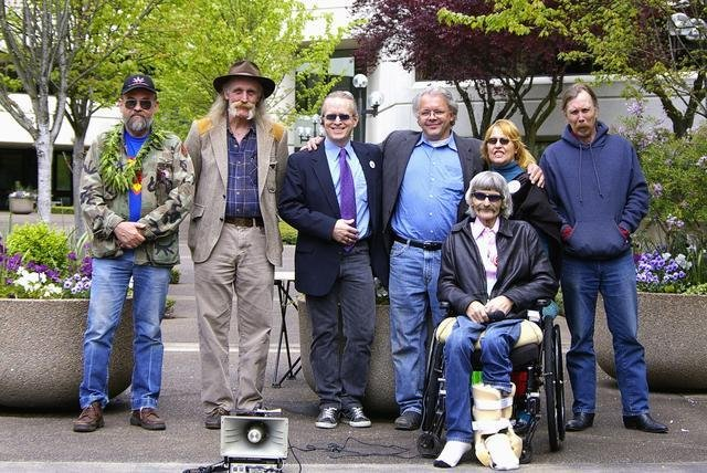 Eugene, OR 5-5-2007 Dan Koozer, Arthur Livermore, Doug McVay, John Sajo, Elvy Musikka, Anthony Johnson, Jim Greig (seated). Photo by Allan Erickson